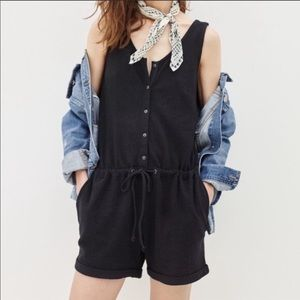 madewell button front romper black